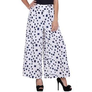 Lili Women's Wide Leg High Elastic Waist Floral Print Crepe Palazzo Pants Regular and Plus Size