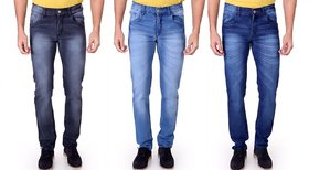 Ragzo Men's Stretchable Pack of 3  Slim Fit Multicolor Jeans