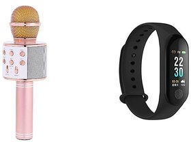WS 858 Karokke Microphone with in built speaker and M3 smart fitness band
