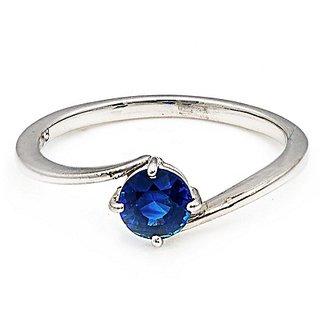 Jaipur Gemstone Natural Certified  5.25 Ratti  Blue Sapphire (Neelam) Sterling Silver Finger  Ring