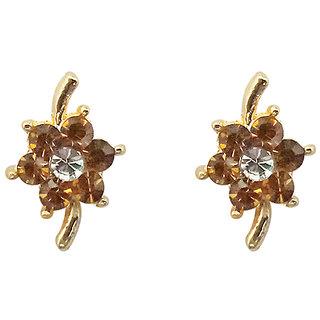 9224ce8ba Buy JewelMaze Brown Austrian Stone Gold Plated Stud Earrings Online ...