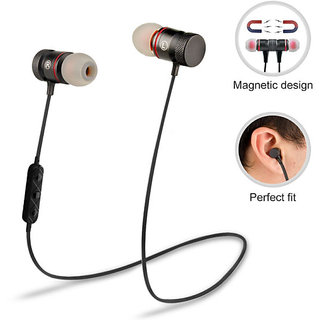 Bluetooth Earphones With Magnetic Locking Design with Mic ( Multicolour )