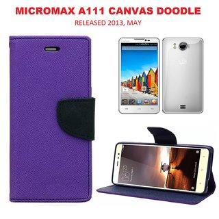 online store e21e5 6964e Micromax Canvas DOODLE A111 Wallet Flip Case Cover - PURPLE