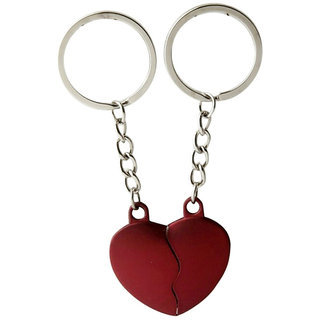 PujaShoppe Red Heart Spilit Heart Key Chain