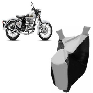 ABP Premium Silver with Black-Matty Bike Body Cover For Bullet Classic 350