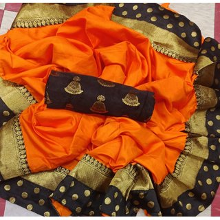 Pemal Designer Orange Paper silk saree With Jequart Blouse Pic BBC122F