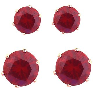 Red Studs 2 Sizes Gift For Her Daily Wear AD Crystal Design Party Wear College Wear Wedding Engagement Silver Plated Sty