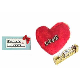 Loops n Knots Valentine's Day Gift Love Red Heart Cushion, Ferrero Rocher Chocolates 4 Pcs With Card