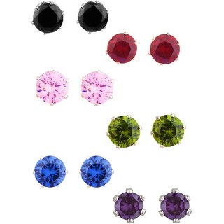 Colorful Studs 2 Sizes AD Crystal Design Silver Plated Style Western Fashion Design Love Solitaire Brass Stud Earring