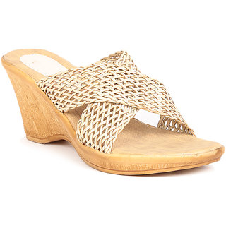 Sindhi Footwear Women's Beige Rexin Casual Wedge