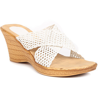 Sindhi Footwear Women's White Rexin Casual Wedge
