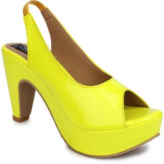 Sindhi Footwear Women's Yellow Rexin Casual Sandals