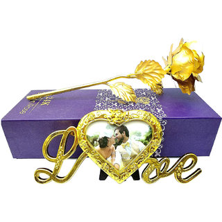 24K GOLDEN ROSE WITH LOVE PHOTO FRAME / ROSE HOLDER, GIFT BOX AND CARRY BAG-Best Valentine, Birthday, Anniversary Gifts