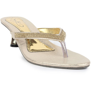 569a60ed6cc Buy Sindhi Footwear Women s Golden Rexin Ethnic Sandals Online - Get ...