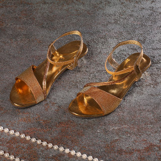 Sindhi Footwear Women's Golden Rexin Ethnic Sandals