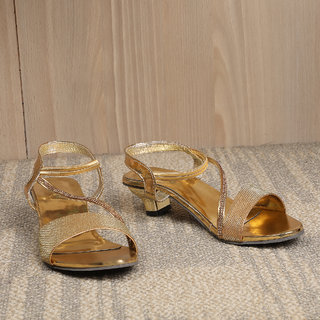 Sindhi Footwear Women's Golden Synthetic Leather Sandals