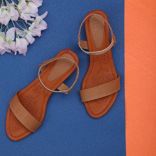 Sindhi Footwear Women's Beige Rexin Casual Sandals