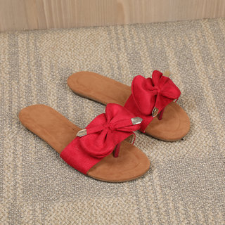 Sindhi Footwear Women's Red Synthetic Leather Sandals