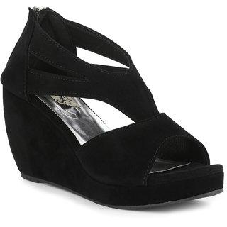 Sindhi Footwear Women's Black Rexin Casual Sandals
