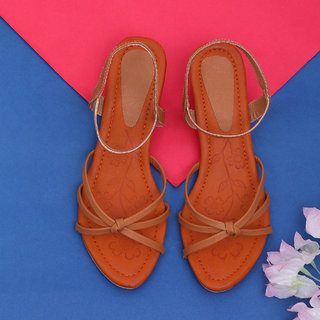 Sindhi Footwear Women's Beige Synthetic Leather Sandals