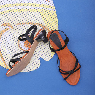 Sindhi Footwear Women's Black Synthetic Leather Sandals