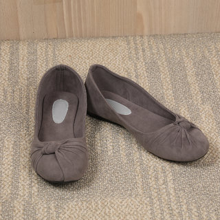 Sindhi Footwear Women's Grey Rexin Casual Ballerinas