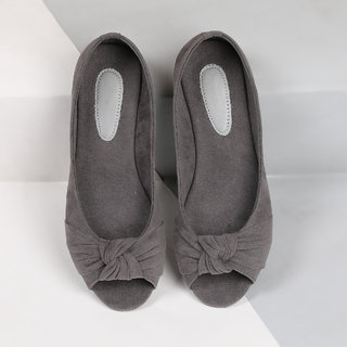 Sindhi Footwear Women's Grey Rexin Casual Ballerinas