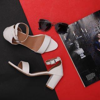 Sindhi Footwear Women's White Rexin Casual Sandals