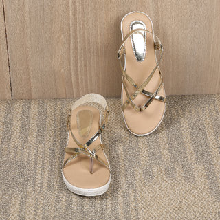 Sindhi Footwear Women's Golden Synthetic Leather Sandals