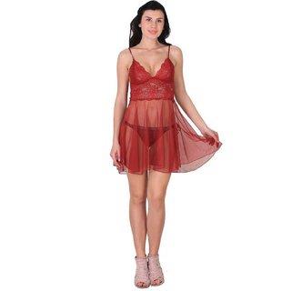 Kismat Fashion Sexy & Stylish Net Babydoll Nighty With Panty Set