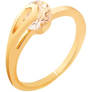 American Diamond Solitaire Ring Artificial Moving Stone Ring Gift For Her Daily Wear Party Wear Engagement Ring Love Valentines Gift Brass, Copper, Metal Gold Plated Ring