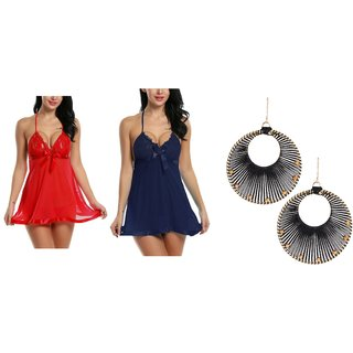 Kismat Fashion Sexy & Stylish Net Nighty With G-String Panty With 1 Pair Earring Free