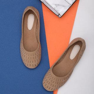 Sindhi Footwear Women's Apricot Rexin Casual Ballerinas