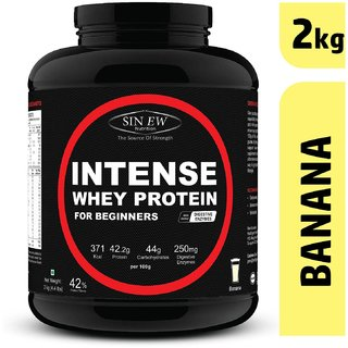 Sinew Nutrition Intense Whey Protein for Beginner's With Digestive Enzymes, Protein Supplement - (2 Kg, Banana)