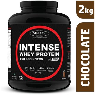 Sinew Nutrition Intense Whey Protein for Beginner's With Digestive Enzymes, Protein Supplement - (2 Kg, Chocolate)