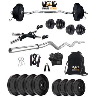 SPORTO FITNESS K-PVC 20kg Combo 3 Leather Home Gym and Fitness Kit