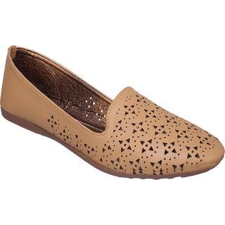 Sindhi Footwear Women's Beige Rexin Casual Ballerinas