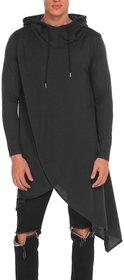 PAUSE Black Solid Hooded Slim Fit Full Sleeve Men's T-Shirt