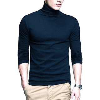 PAUSE Blue Solid High Neck Slim Fit Full Sleeve Men's T-Shirt