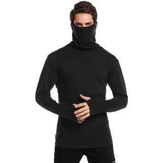 PAUSE Black Solid High Neck Slim Fit Full Sleeve Men's Mask T-Shirt