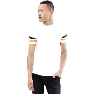PAUSE White Solid Round Neck Slim Fit Half Sleeve Men's T-Shirt