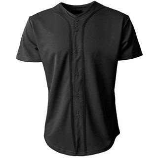 PAUSE Black Solid V Neck Slim Fit Half Sleeve Men's Baseball Jersey