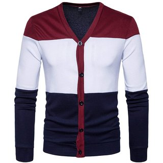 PAUSE Multicolor Solid V Neck Slim Fit Full Sleeve Men's Shrug