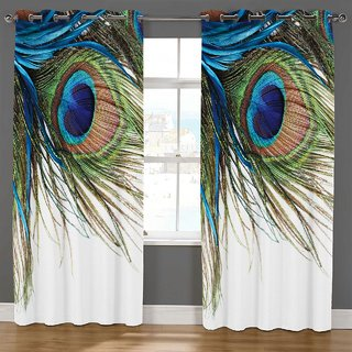 Choco Supereb quality Pankh Digital Print Curtain pack of 1 7feet