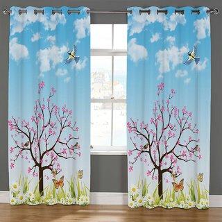 Choco Supereb quality Aqua Ped Digital Print Curtain pack of 1 7feet