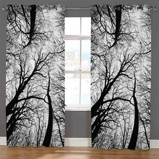 Choco Supereb quality Black Jhad 1 Digital Print Curtain pack of 1 7feet