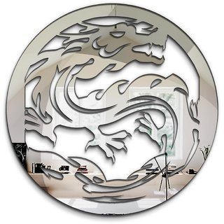 100yellow Dragon 3D Mirror Sticker For Kids Room ( Silver Acrylic)