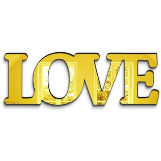 100yellow Love 3D Mirror Sticker For Living Room ( Gold Acrylic)