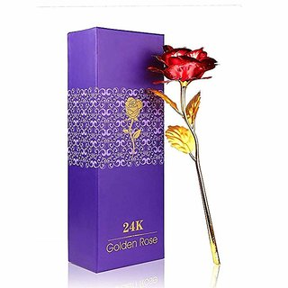 24K Gold Plated Rose(Red Or Golden Based On Availability)