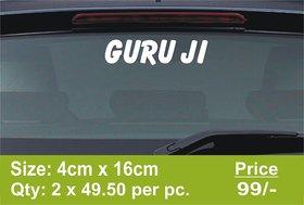 GURU JI Chhatarpur Wale Vinyl Sticker Car Scooty Bike White SSC 60 - Size 4cm x 16cm
